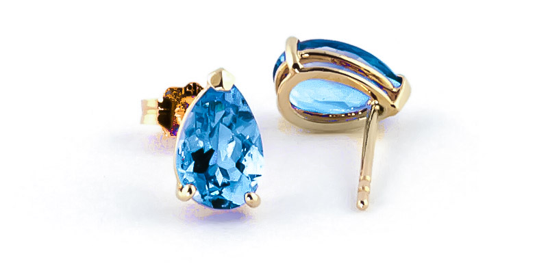 Blue Topaz Stud Earrings 3.15 ctw in 9ct Gold