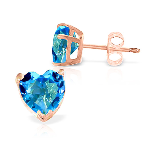 Blue Topaz Stud Earrings 3.25 ctw in 9ct Rose Gold