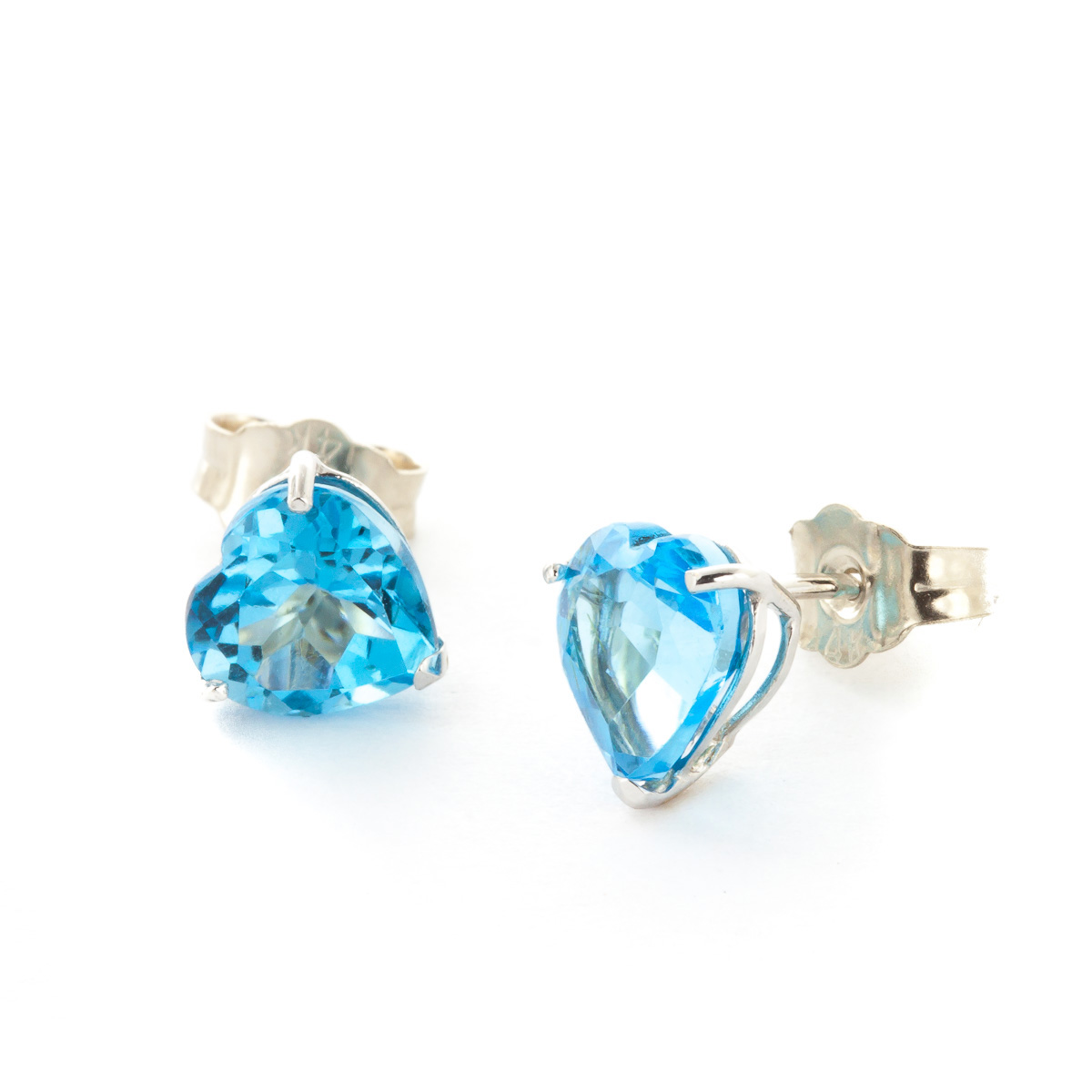 Blue Topaz Stud Earrings 3.25 ctw in 9ct White Gold