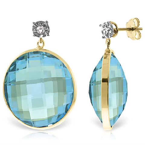 Blue Topaz Stud Earrings 46.06 ctw in 9ct Gold