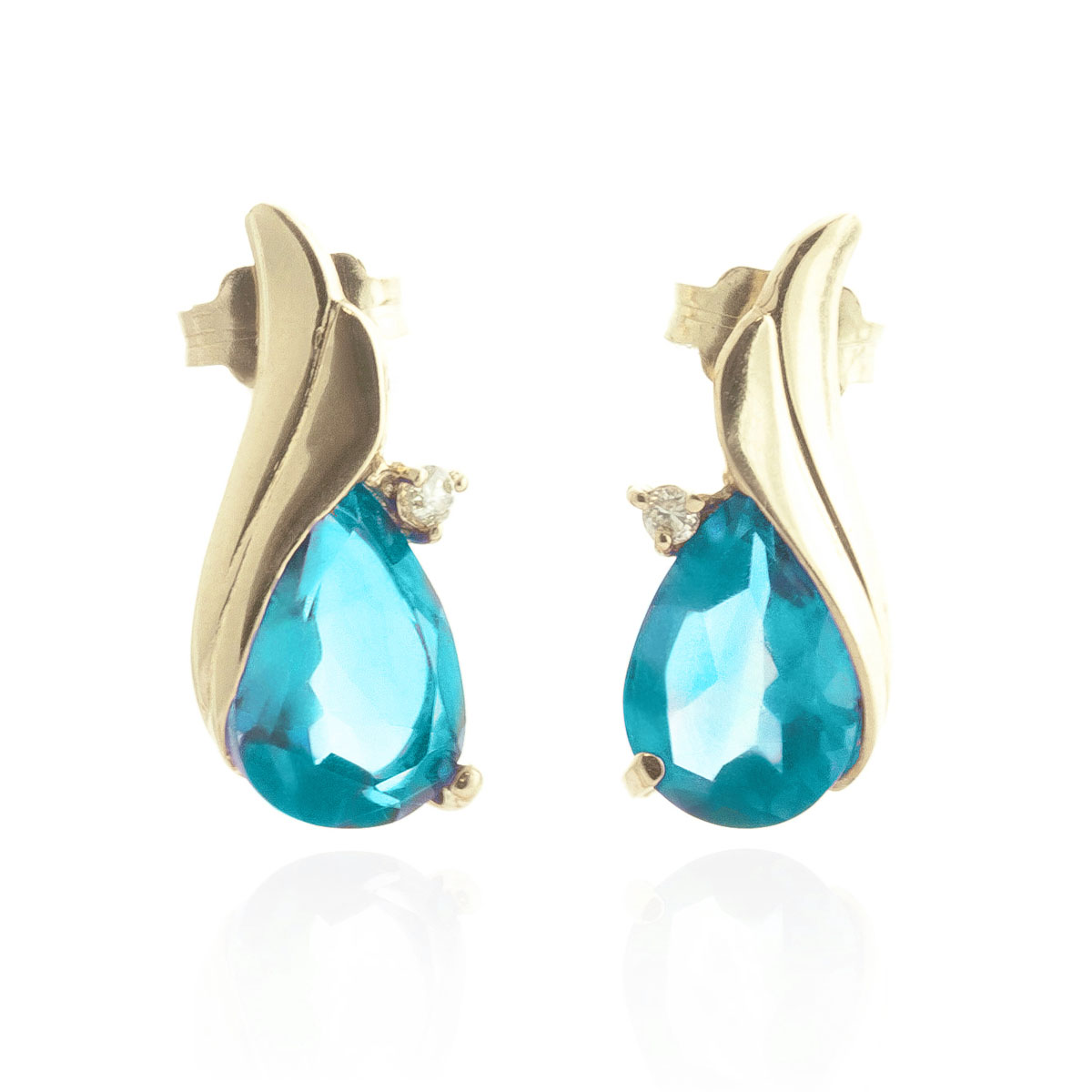 Blue Topaz Stud Earrings 5.06 ctw in 9ct Gold