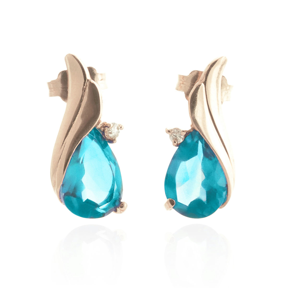 Blue Topaz Stud Earrings 5.06 ctw in 9ct Rose Gold