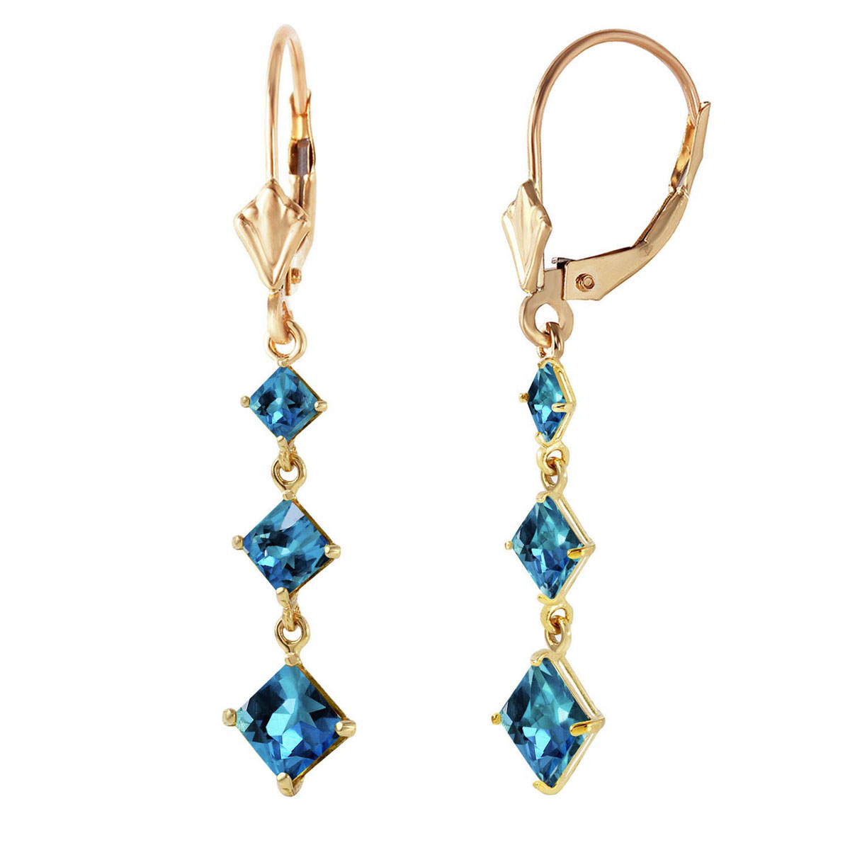Blue Topaz Three Stone Drop Earrings 4.79 ctw in 9ct Gold