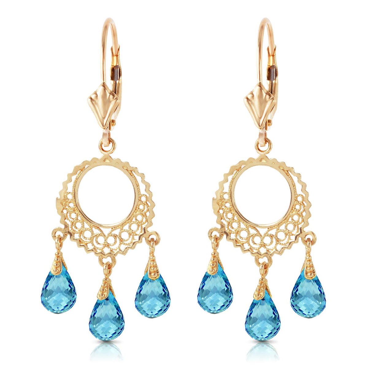Blue Topaz Trilogy Drop Earrings 3.75 ctw in 9ct Gold