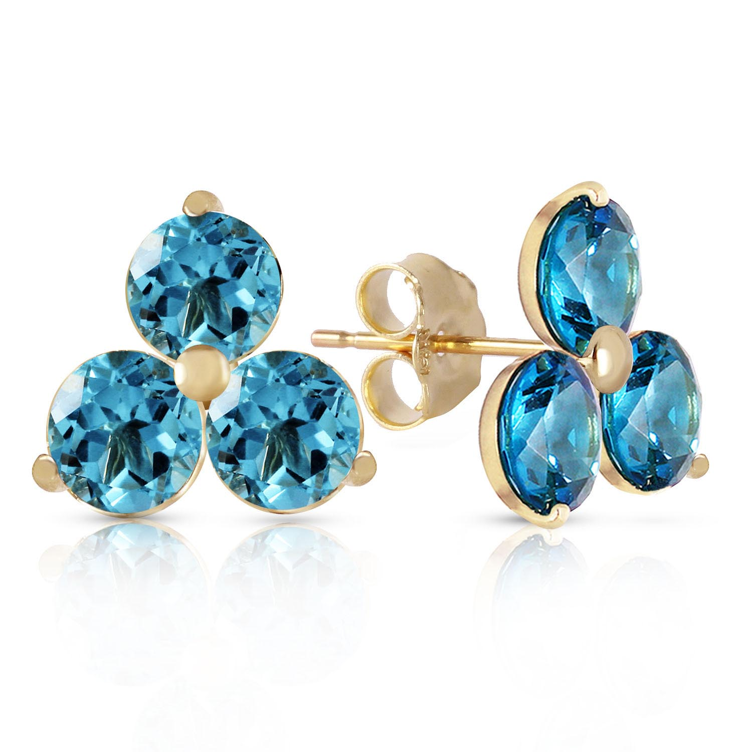 Blue Topaz Trinity Stud Earrings 1.5 ctw in 9ct Gold