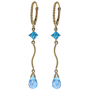 Blue Topaz Twist Drop Earrings 3.5 ctw in 9ct Gold