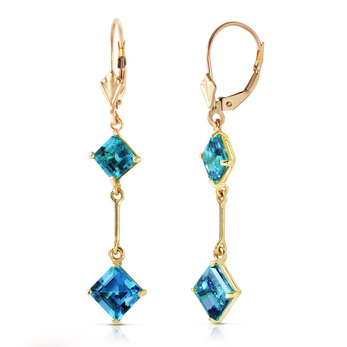Blue Topaz Two Tier Drop Earrings 3.75 ctw in 9ct Gold