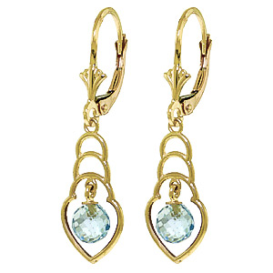 Blue Topaz Wireframe Drop Earrings 1.25 ctw in 9ct Gold