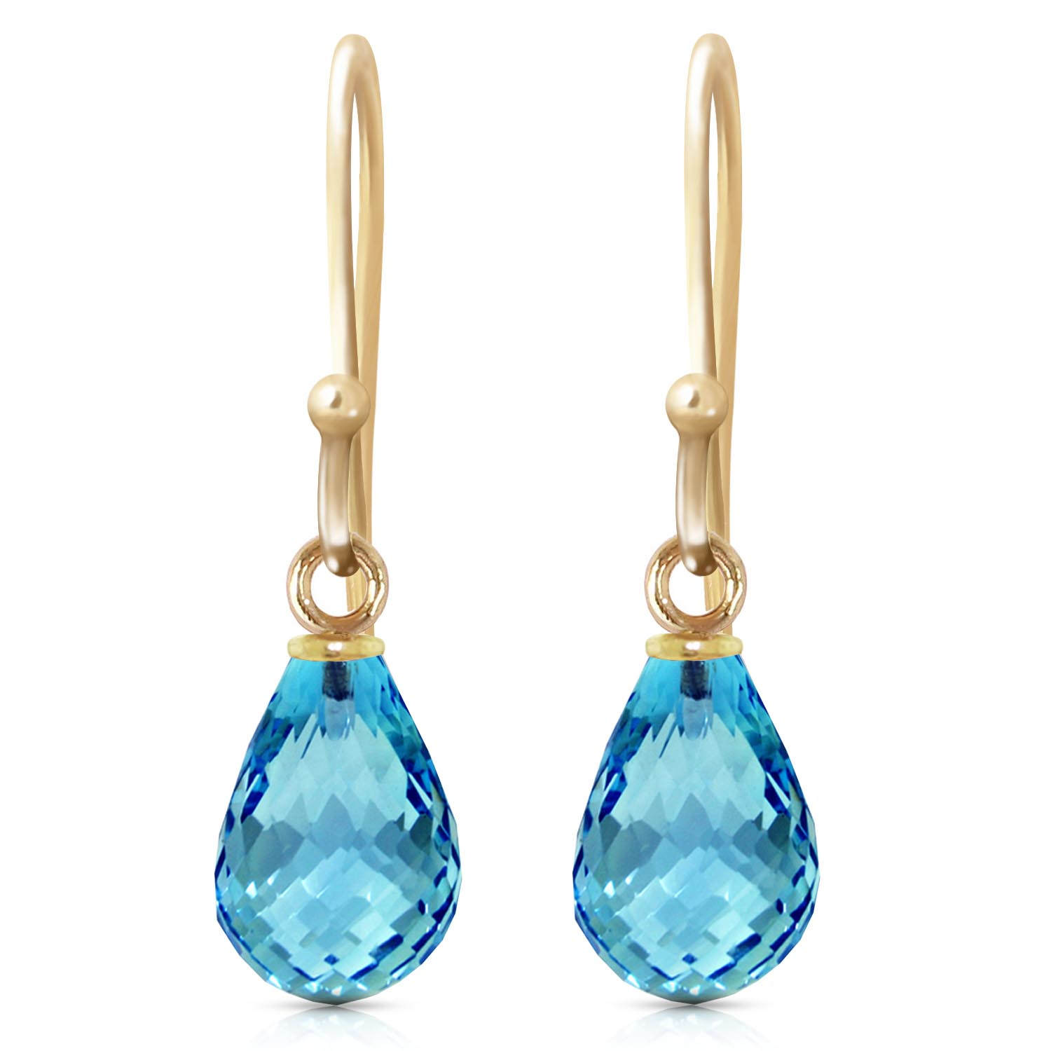 Blue Topaz Zeal Drop Earrings 2.7 ctw in 9ct Gold