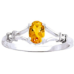 Citrine & Diamond Aspire Ring in 18ct White Gold