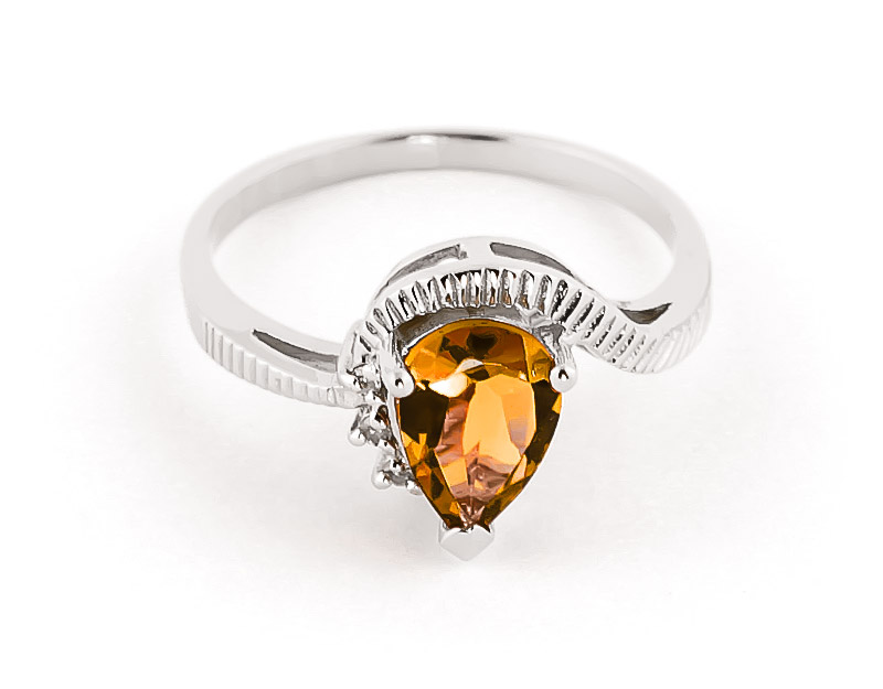 Citrine & Diamond Belle Ring in Sterling Silver