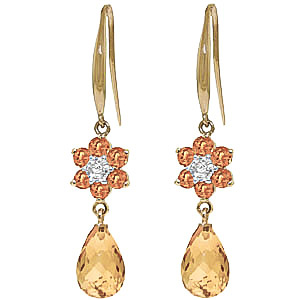 Citrine & Diamond Daisy Chain Drop Earrings in 9ct Gold
