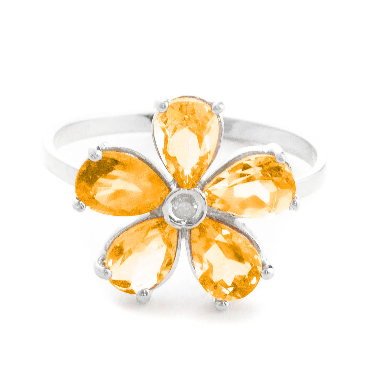 Citrine & Diamond Five Petal Ring in 9ct White Gold