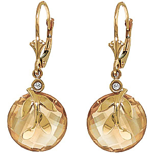 Citrine & Diamond Olive Leaf Drop Earrings in 9ct Gold