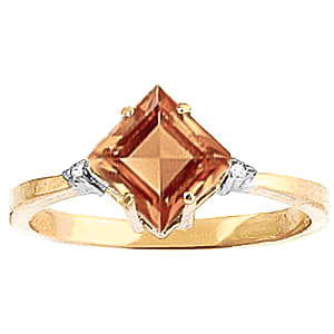 Citrine & Diamond Princess Ring in 9ct Gold