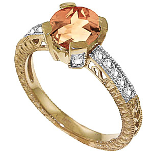 Citrine & Diamond Renaissance Ring in 9ct Gold