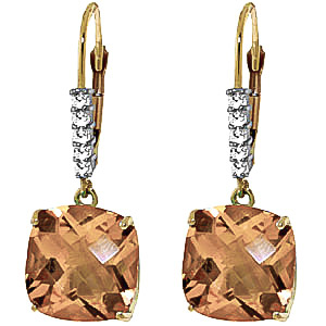 Citrine & Diamond Rococo Drop Earrings in 9ct Gold