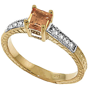 Citrine & Diamond Shoulder Set Ring in 9ct Gold