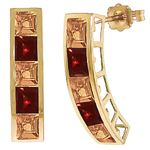 Citrine & Garnet Channel Set Stud Earrings in 9ct Gold