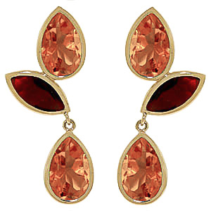 Citrine & Garnet Petal Drop Earrings in 9ct Gold