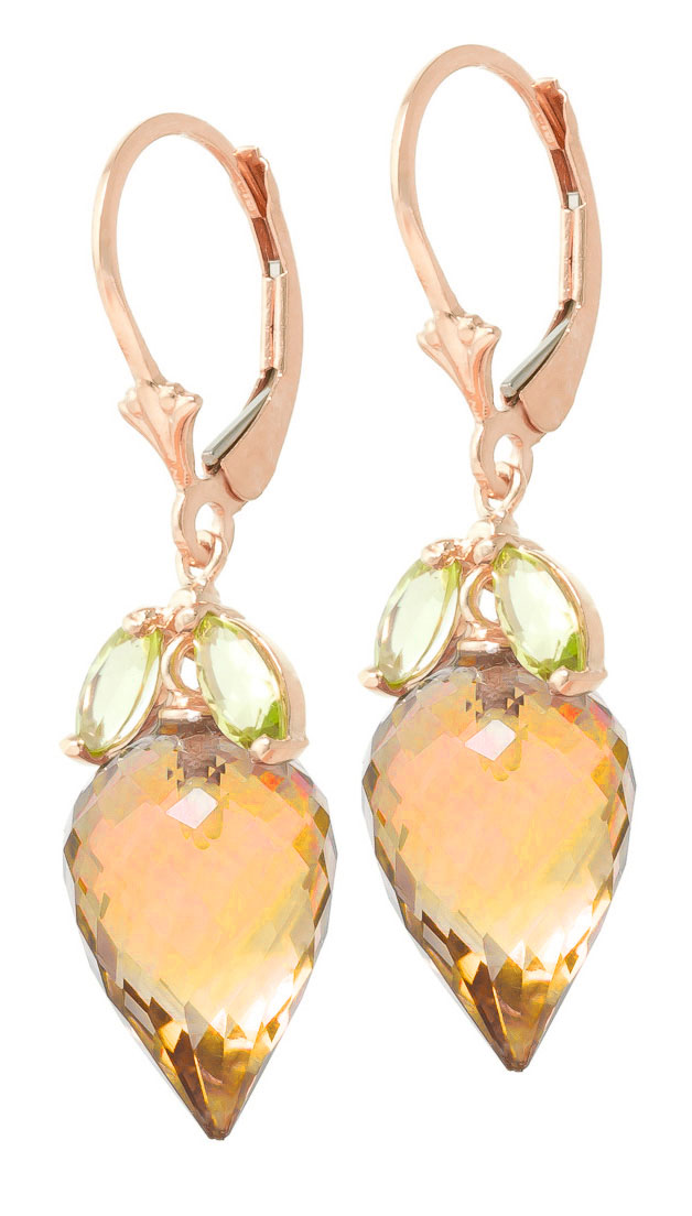 Citrine & Peridot Drop Earrings in 9ct Rose Gold