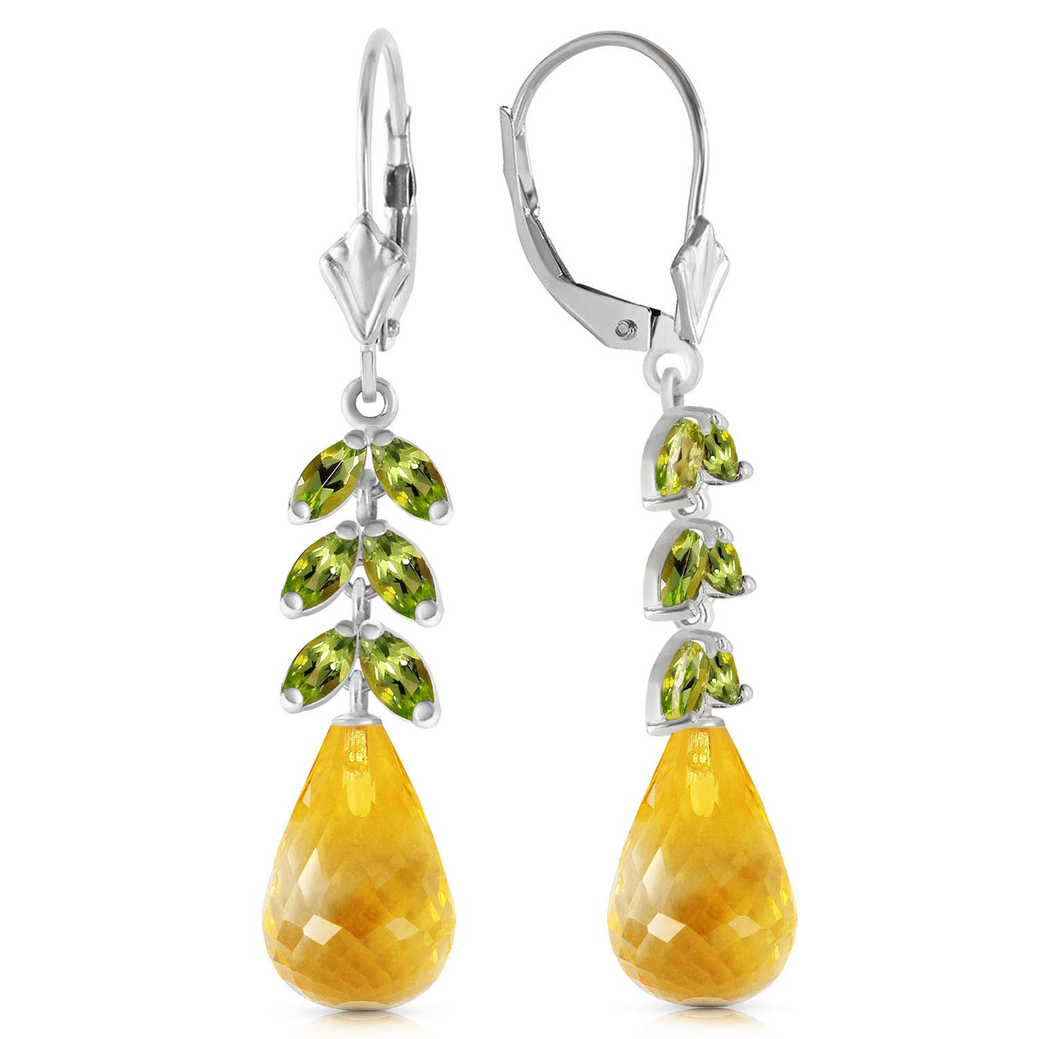 Citrine & Peridot Drop Earrings in 9ct White Gold