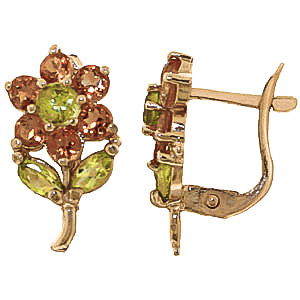 Citrine & Peridot Flower Petal Stud Earrings in 9ct Gold