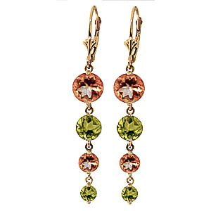 Citrine & Peridot Quadruplo Drop Earrings in 9ct Gold