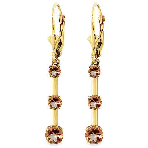 Citrine Bar Drop Earrings 2.5 ctw in 9ct Gold