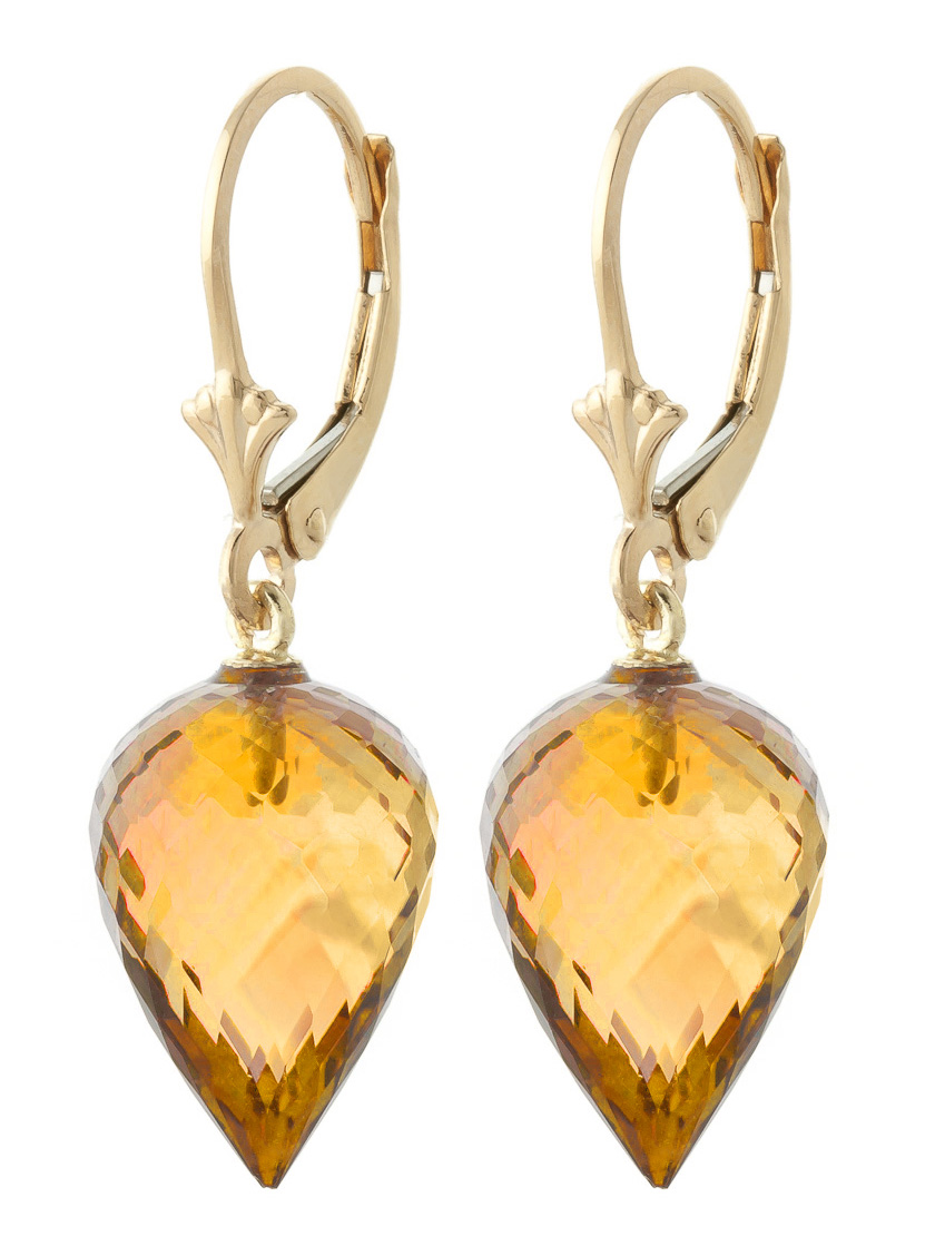 Citrine Briolette Drop Earrings 19 ctw in 9ct Gold