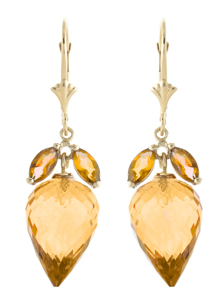 Citrine Briolette Drop Earrings 20 ctw in 9ct Gold