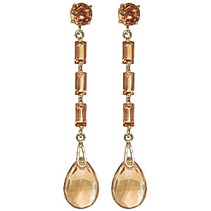 Citrine Cairo Drop Earrings 8.6 ctw in 9ct Gold