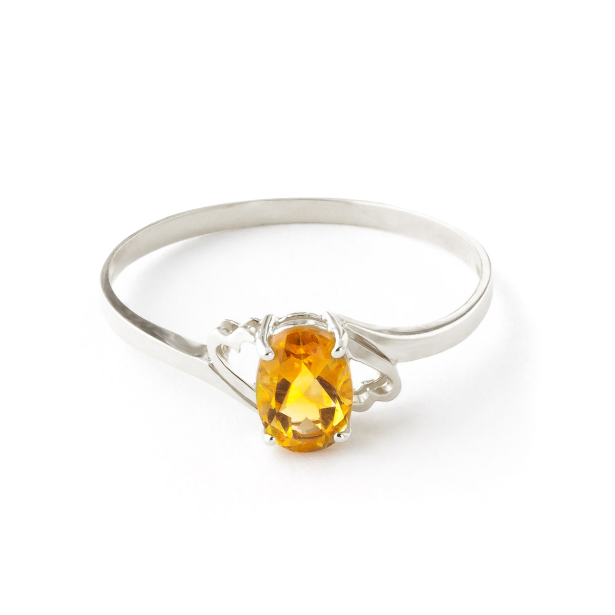 Citrine Classic Desire Ring 0.9 ct in 9ct White Gold