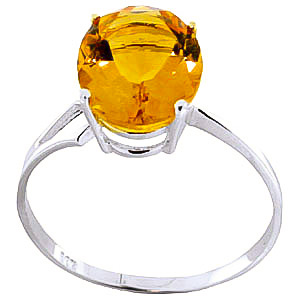 Citrine Claw Set Ring 2.2 ct in 18ct White Gold