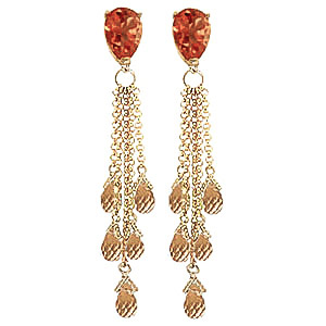 Citrine Comet Tail Drop Earrings 15.5 ctw in 9ct Gold