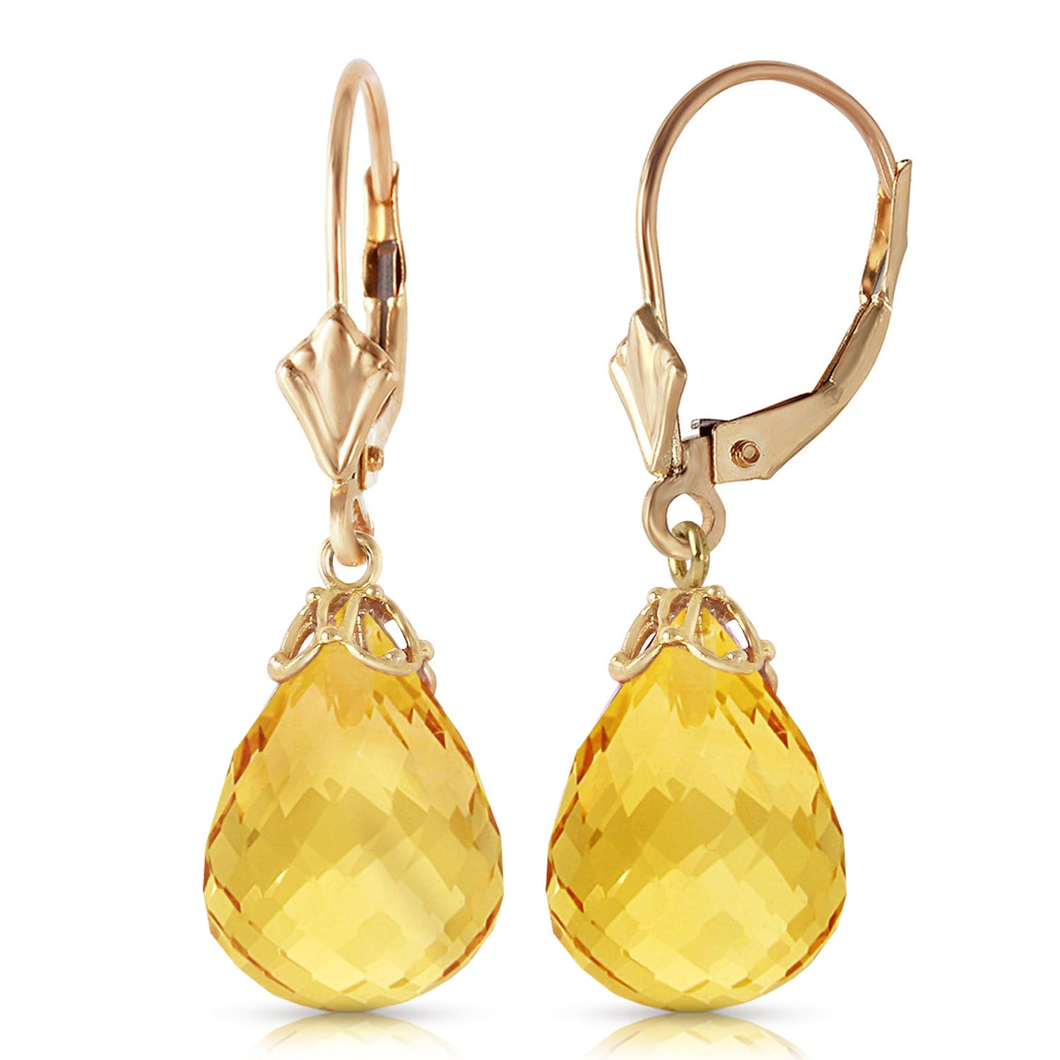 Citrine Crown Drop Earrings 14 ctw in 9ct Gold