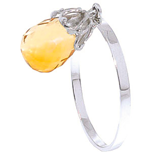 Citrine Crown Ring 3 ct in 9ct White Gold