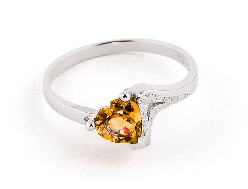 Citrine Devotion Ring 0.95 ct in 9ct White Gold