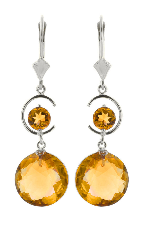 Citrine Drop Earrings 11.6 ctw in 9ct White Gold