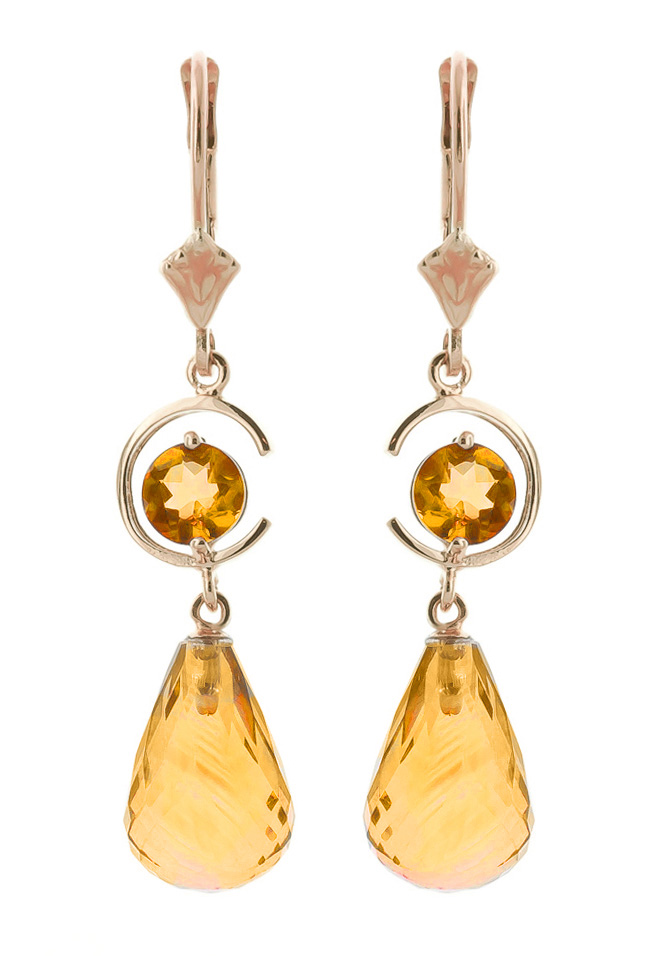 Citrine Drop Earrings 11 ctw in 9ct Rose Gold
