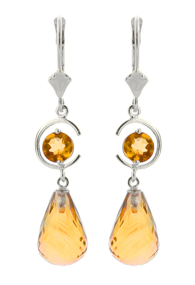 Citrine Drop Earrings 11 ctw in 9ct White Gold