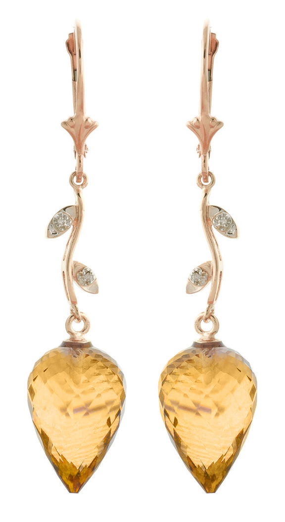 Citrine Drop Earrings 19.02 ctw in 9ct Rose Gold