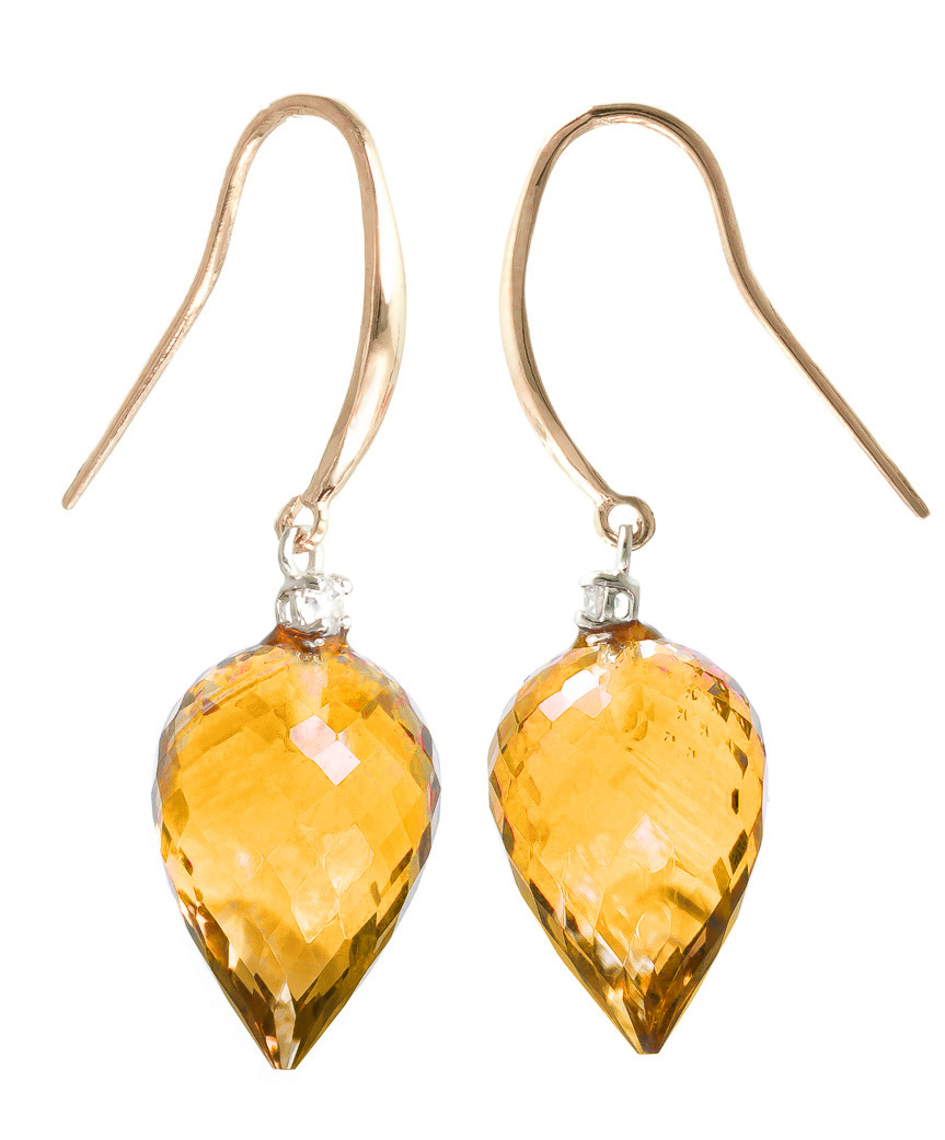 Citrine Drop Earrings 19.1 ctw in 9ct Rose Gold