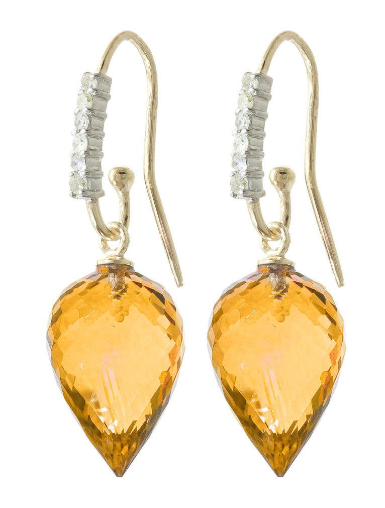 Citrine Drop Earrings 19.18 ctw in 9ct Gold
