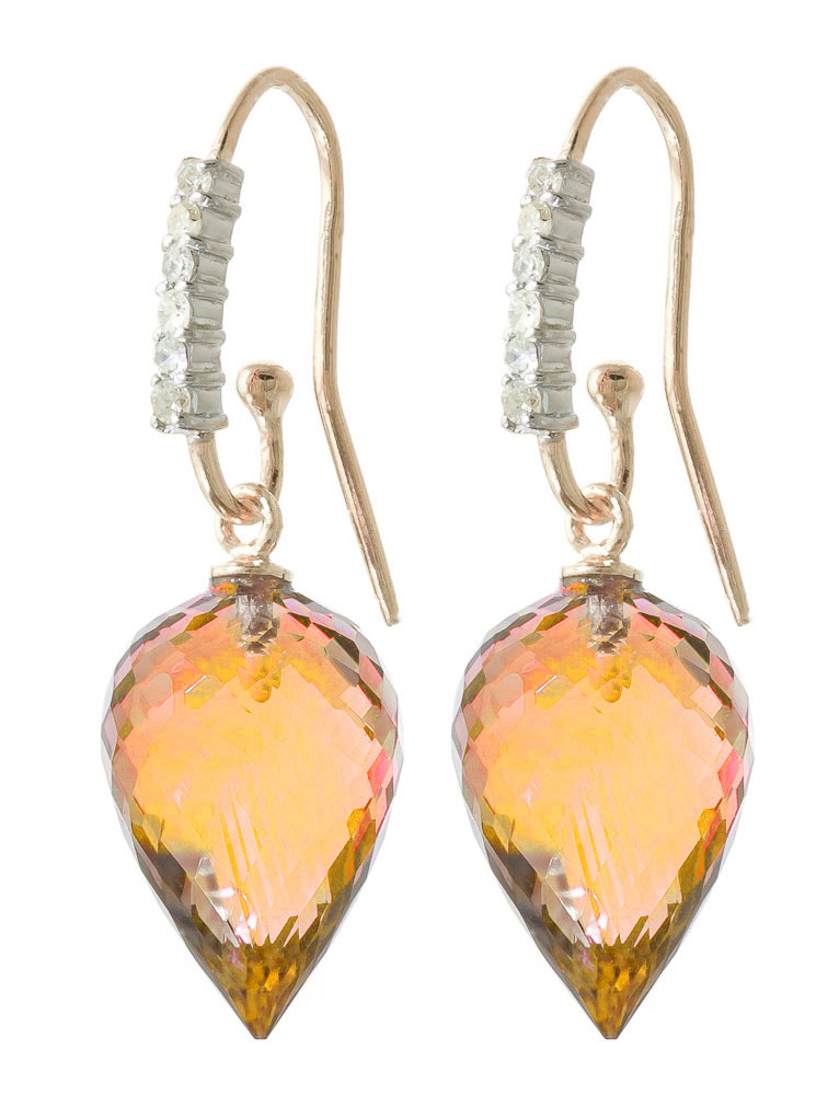 Citrine Drop Earrings 19.18 ctw in 9ct Rose Gold