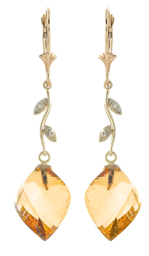 Citrine Drop Earrings 23.52 ctw in 9ct Gold