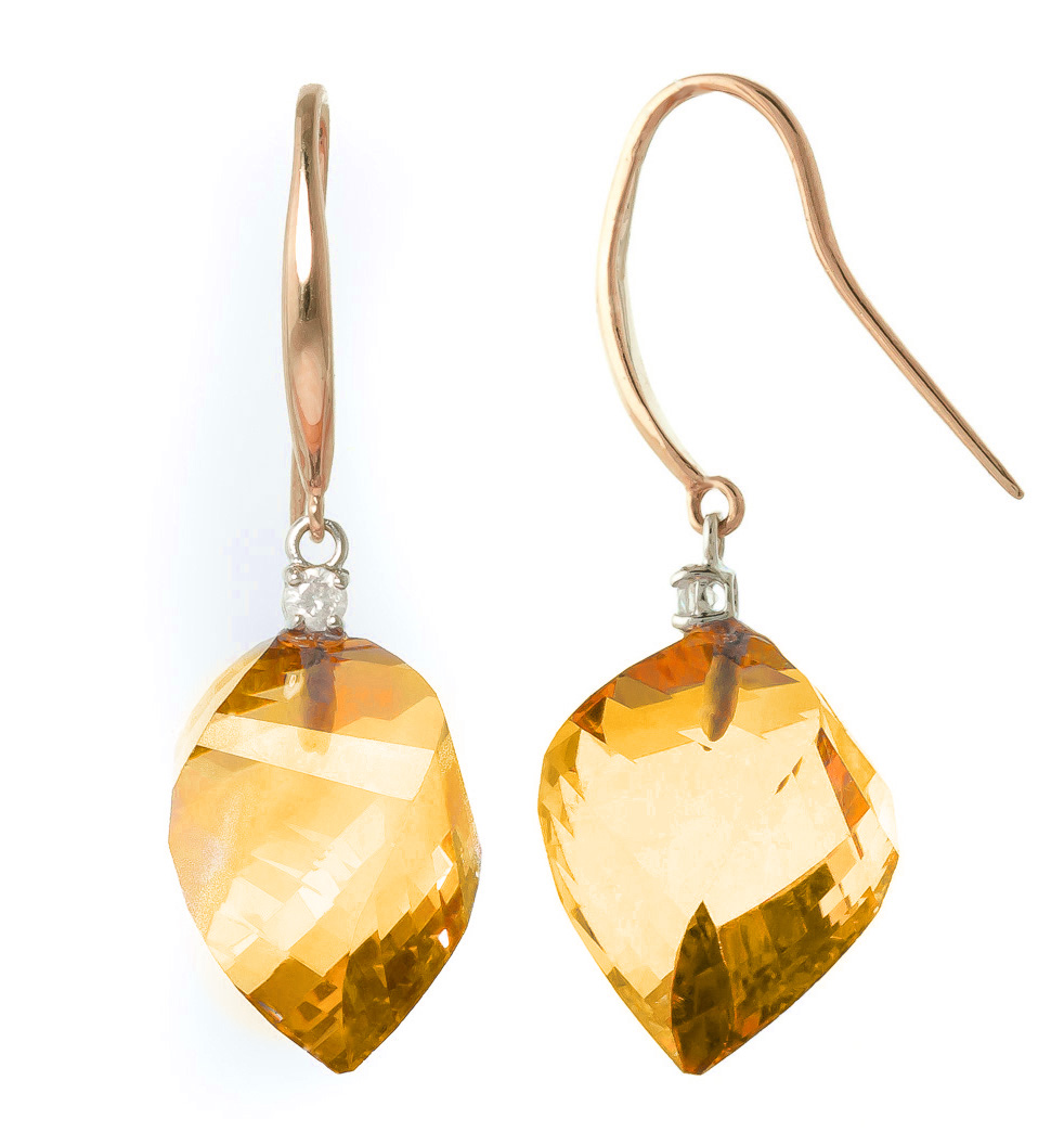 Citrine Drop Earrings 23.6 ctw in 9ct Rose Gold