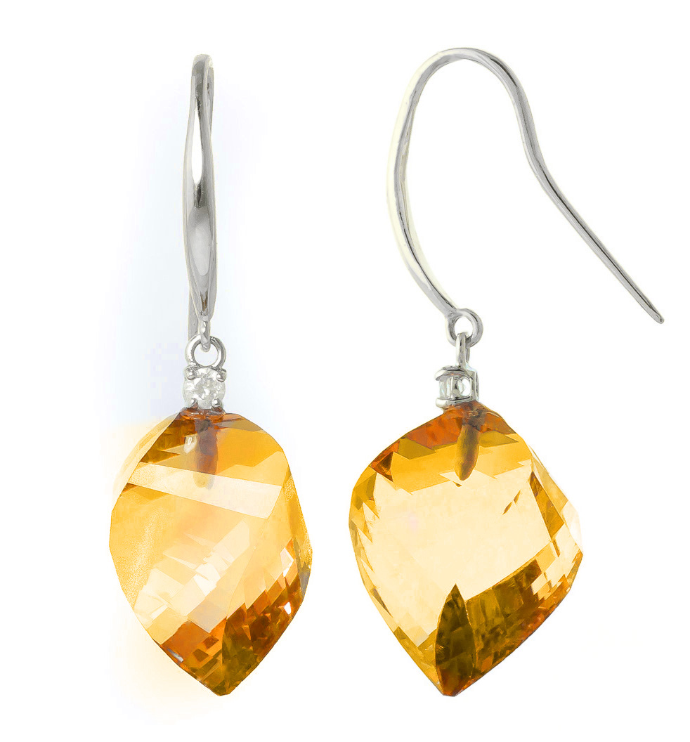 Citrine Drop Earrings 23.6 ctw in 9ct White Gold