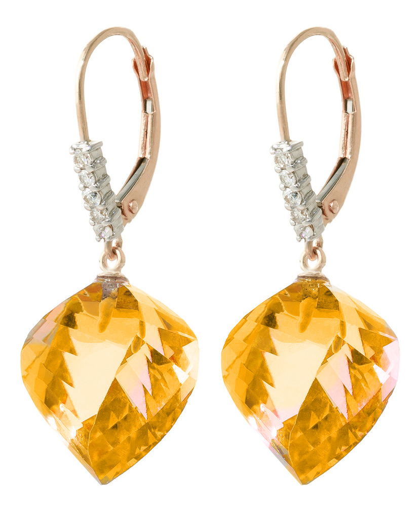 Citrine Drop Earrings 23.65 ctw in 9ct Rose Gold
