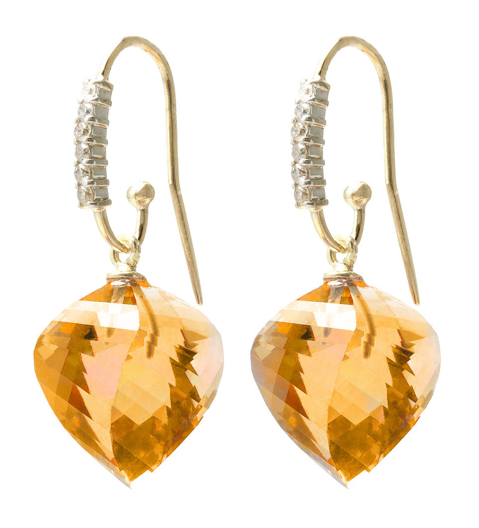 Citrine Drop Earrings 23.68 ctw in 9ct Gold
